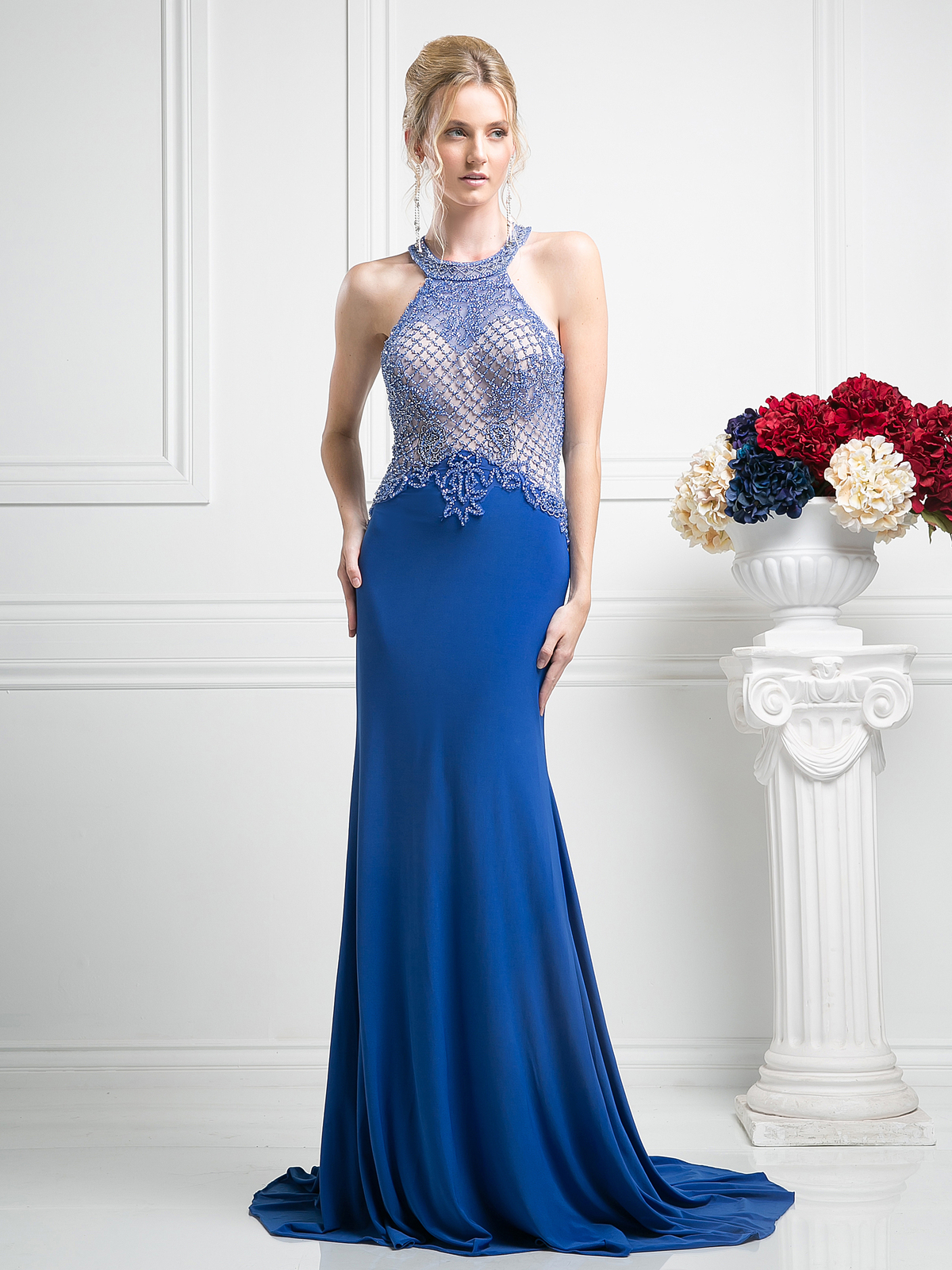 Halter Beaded Top Backless Gown with Train   Sung Boutique L.A.