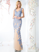 CD-KD015 Illusion Sleeveless Embellished Evening Dress, Perry Blue