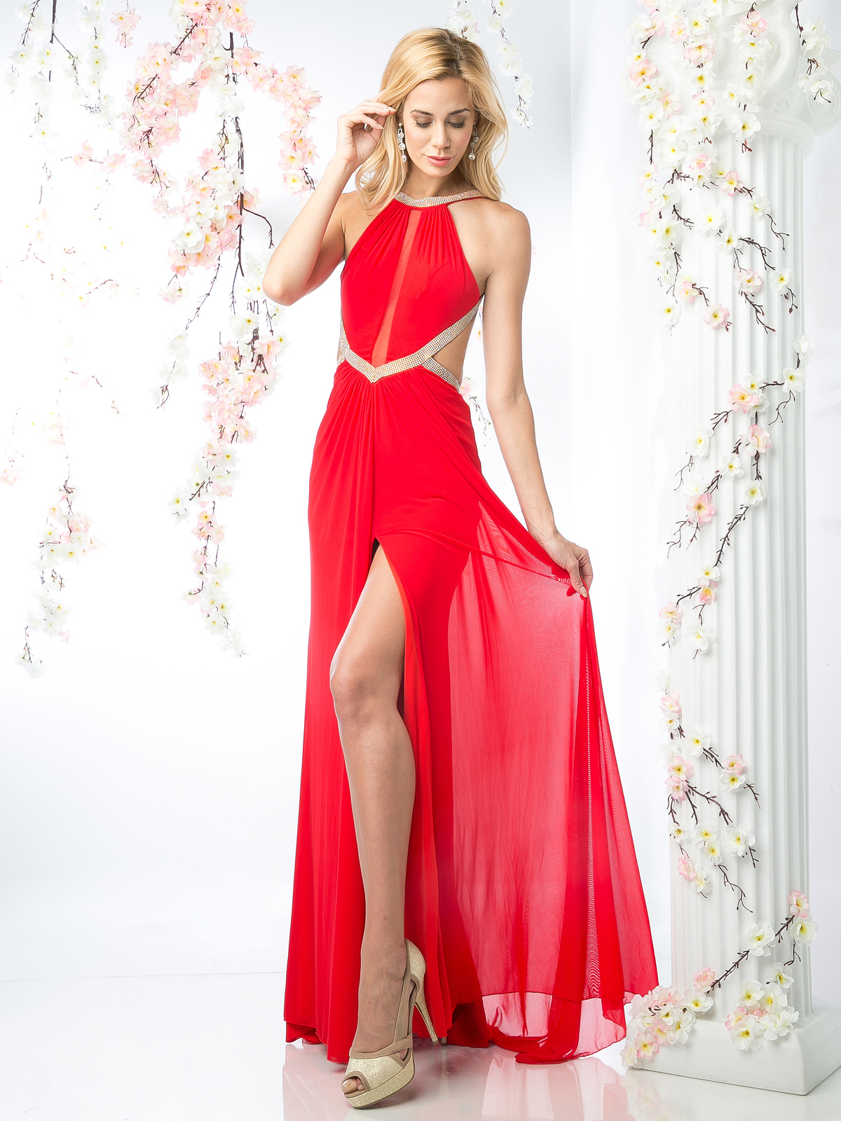 Halter Top Evening Dress With Side Cutouts Sung Boutique