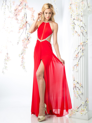 CD-KD019 Halter Top Evening Dress with Side Cutouts, Red
