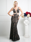 CD-KD020 Open Back Lace Evening Gown, Teal Nude