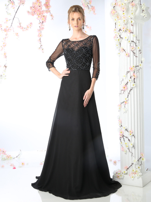 CD-KD026 Mother of the Bride Beaded Bodice Gown with Sheer Overlay, Black