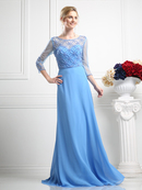 CD-KD026 Mother of the Bride Beaded Bodice Gown with Sheer Overlay, Perry Blue