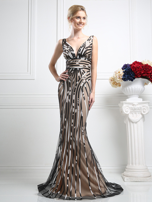 CD-KD032 Elegant Strapless Evening Dress with Train, Print