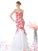 CD-KD080 Sweetheart Trumpet Prom Evening Gown with Embroidery, White Red