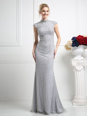 CD-KD085 Long Beaded Evening Dress , Silver