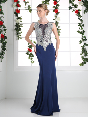CD-ML6541 Illusion Beaded Top Evening Gown, Navy