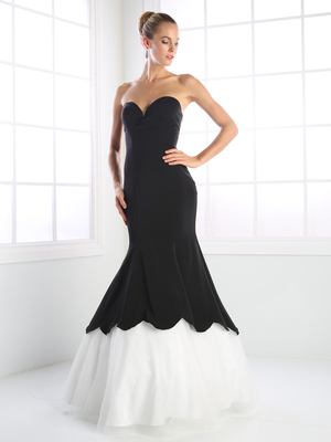 CD-P101 Strapless Sweetheart Formal Gown with Mermaid Hem, Black White