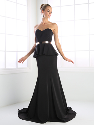 CD-P102 Sweetheart Evening Dress with Mermaid Hem, Black
