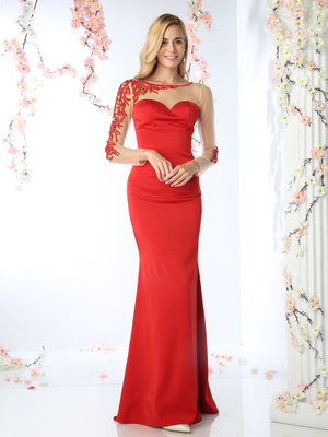 CD-P104 Illusion Long Sleeve Sweetheart Evening Gown , Red