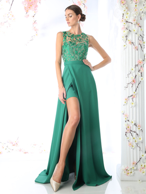 CD-P105 Embroidered Illusion Evening Dress, Green