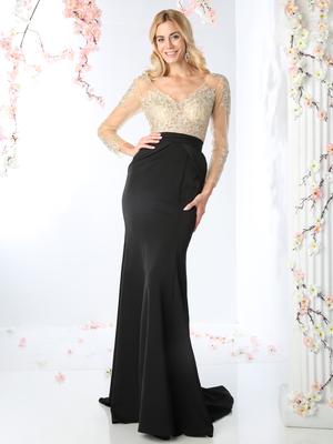 CD-P106 Embroidered Bodice Mesh Long Sleeve Evening Dress with Train, Black Nude