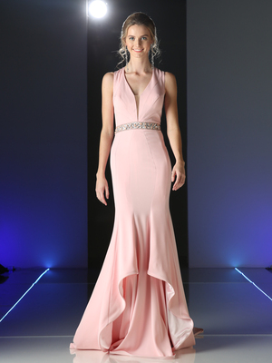 CD-P107 Elegant Long Evening Dress, Blush