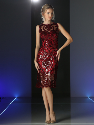CD-P109 Chic Knee Length Cocktail Dress, Burgundy