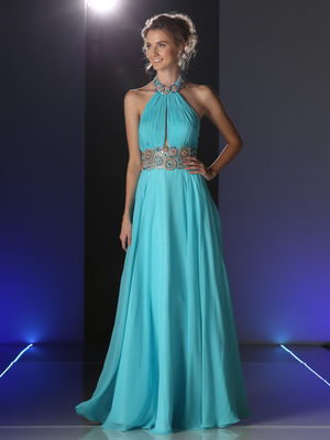 CD-PC905 Halter Neck Evening Dress with Keyhole , Aqua