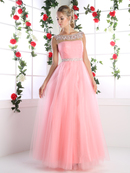 CD-PC908 Off Shoulder Bridal Dress with Beaded Trim, Coral