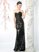 CD-R2014 Sequined gown with lace applique bodice, Black