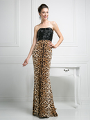 CD-S5235 Form Fitting Sequined Top Evening Dress with Lepoard Print, Leopard