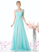 CD-W0014 Sleeveless Pleated Evening Dress with Belt, Aqua