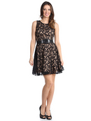 Floral Lace Cocktail Dress with Belt
