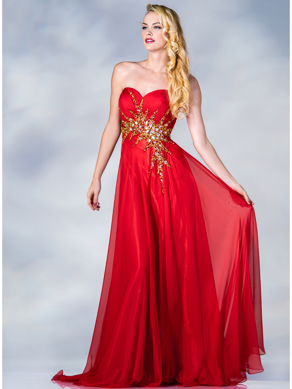 Tangerine Strapless Beaded Prom Dress | Sung Boutique L.A.