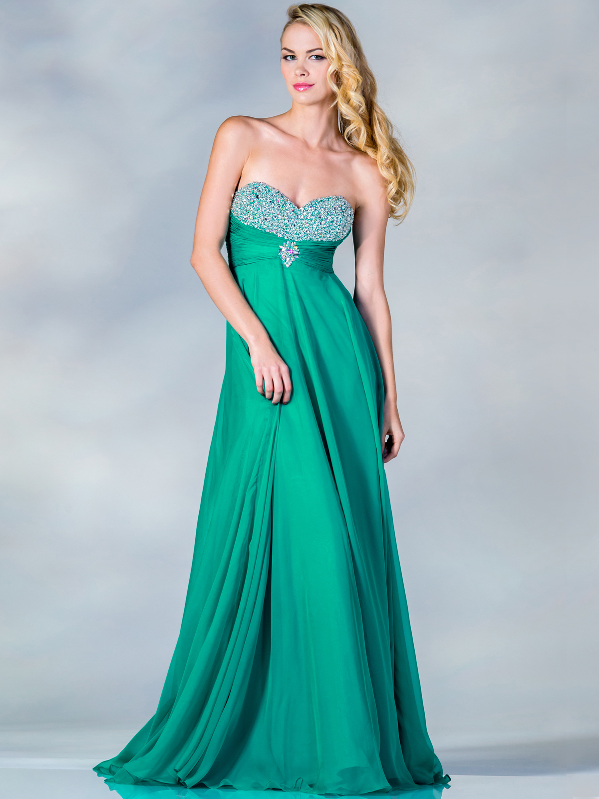 Empire Waist Chiffon Evening Dress With Jeweled Bust Top