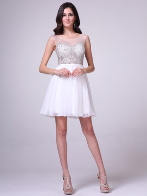CJ90S Sheer Jeweled Bodice Short Prom Dress, Off White