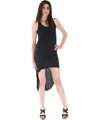 CL3900 High Low Racerback Tank Dress - Black, Front View Thumbnail