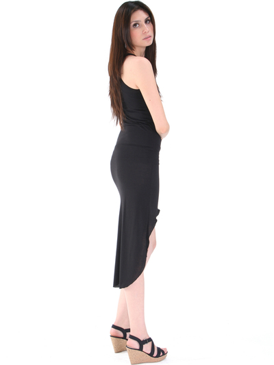 CL3900 High Low Racerback Tank Dress - Black, Back View Medium