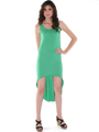 CL3900 High Low Racerback Tank Dress - Green, Front View Thumbnail