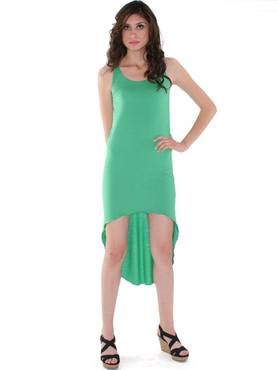 CL3900 High Low Racerback Tank Dress - Green, Front View Medium