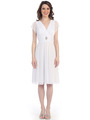 CN1205 Mesh Cocktail Dress with Sleeves - White, Front View Thumbnail