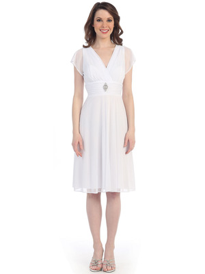 CN1205 Mesh Cocktail Dress with Sleeves, White