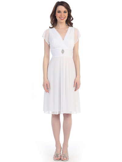 CN1205 Mesh Cocktail Dress with Sleeves - White, Front View Medium