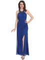 CN1278 Embellished Halter Neck Evening Dress - Royal Blue, Front View Thumbnail