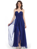 CN1287 Sweetheart Strapless Chiffon Evening Dress, Royal Blue