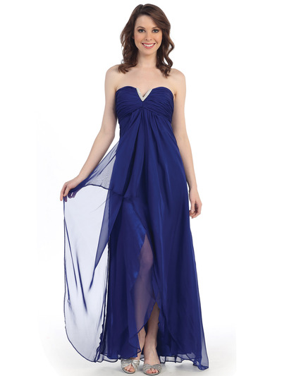 CN1287 Sweetheart Strapless Chiffon Evening Dress - Royal Blue, Front View Medium