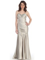 CN1288 Strapless Sweetheart Dropped Waist Mermaid Gown - Silver, Front View Thumbnail