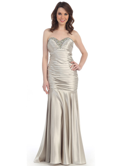 CN1288 Strapless Sweetheart Dropped Waist Mermaid Gown - Silver, Front View Medium