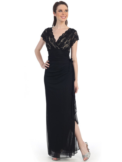 CN1292 Lace and Chiffon Evening Dress - Black Royal, Front View Medium