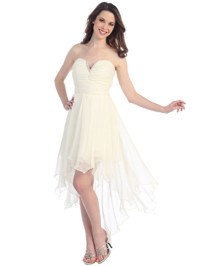 CN1295 Strapless Chiffon Cocktail Dress with Handkerchief Hem - Off White, Front View Medium