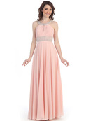 CN1313 Halter Neck Chiffon Evening Dress, Blush