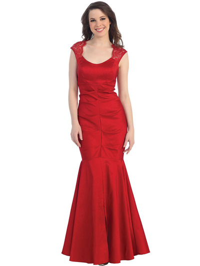 CN1317 Lace Sleeveless Mermaid Evening Dress - Red, Front View Medium