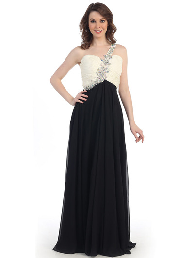 CN1345 One Shoulder Evening Dress - Off White Black, Front View Medium