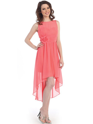 CN1381 Chiffon High Low Cocktail Dress, Coral