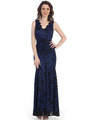 CN1382 Lace Body Con Long Evening Dress - Black Royal, Front View Thumbnail
