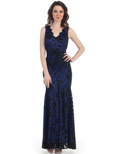 CN1382 Lace Body Con Long Evening Dress - Black Royal, Front View Medium