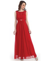 CN1384 Chiffon Evening Dress - Red, Front View Thumbnail