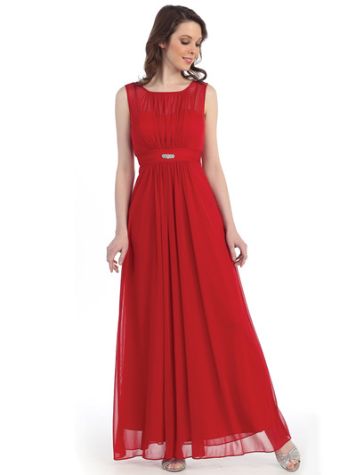 CN1384 Chiffon Evening Dress - Red, Front View Medium