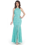 CN1394 Halter Neck Lace Mermaid Evening Dress , Mint
